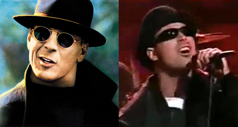 "Left: ""Hudson Hawk."" Right: John Bush, live in 1995."