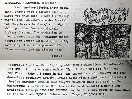 Brutality Dimension Demented review from Unchain the Underground circa 1992