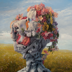 The album cover of Wilderun's - Veil of Imagination - a slightly surrealist, twisted tree covered in flowers